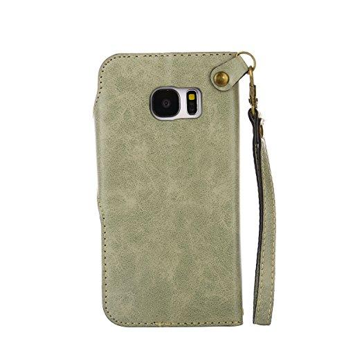 MEIRISHUN Leather Wallet Case Cover Carcasa Funda con Ranura de Tarjeta Cierre Magnético y función de soporte para Samsung Galaxy S7 - Caqui Verde claro