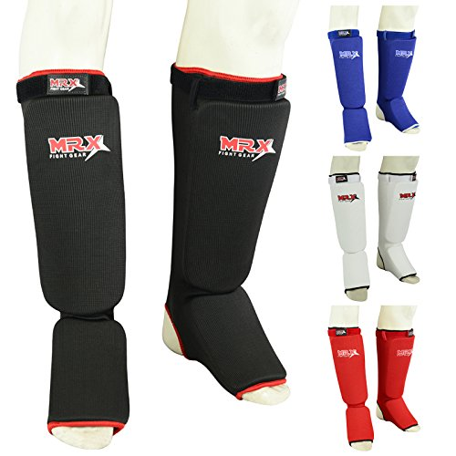 MRX BOXING & FITNESS Muay Thai Shin Guards Kick Boxing Leg & Foot Protector Pad MMA Shin Guard Extra Padding for Men or Women