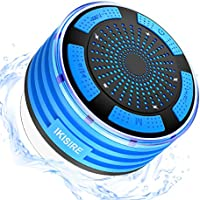 Portable Shower Radio, IP67 Waterproof Wireless Bluetooth Shower Speaker 4.0 for Pool with HD Sound & Bass, Built-in Mic, FM Radio and Colored LED Lights