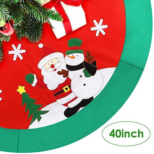 AGM Christmas Tree Skirt, 40'' Xmas Circle Apron Santa Snowman Pattern Holiday Party -