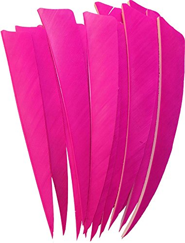 50pcs Arrow Turkey Feather Fletching Fletches for Archery DIY Shield Shape 5 INCHES PINK Right Wing ()