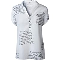 NINGNETI BotóN De ImpresióN De Letras con Cuello En V De Sunmer para Mujer Camiseta De Manga Corta Tops Blusa