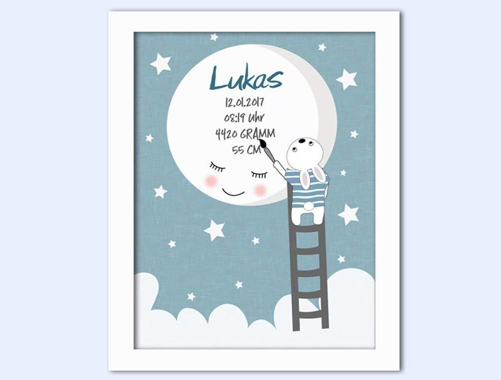 hellblau Bild mit Name personalisiert Baby M/ädchen Junge Kind Baby Geschenk zur Geburt Taufe Kunstdruck Poster ungerahmt DIN A4