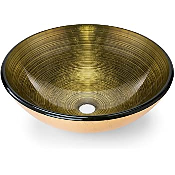 High Quality Premium Tempered Glass Vessel Sink; Round Shaped Bowl, Gold Foil Leaf  Color, 1