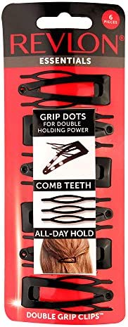 Prendedores de cabelo Essentials Revlon com aderência dupla, 6 unidades, preto