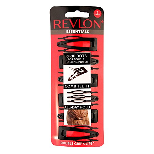 Revlon Double Grip Black Hair Clips, 6 count