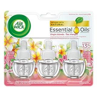 Air Wick plug in Scented Oil 3 Refills, Virgin Islands, (3x0.67oz), Essential Oils, Air Freshener