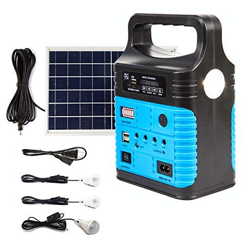 UPEOR Solar Generator Lighting System Portable Solar Power Generator Kit for Emergency Power Supply,Home & Outdoor Camping,Including MP3&FM Radio,Solar Panel,3 Sets LED Lights(Blue)