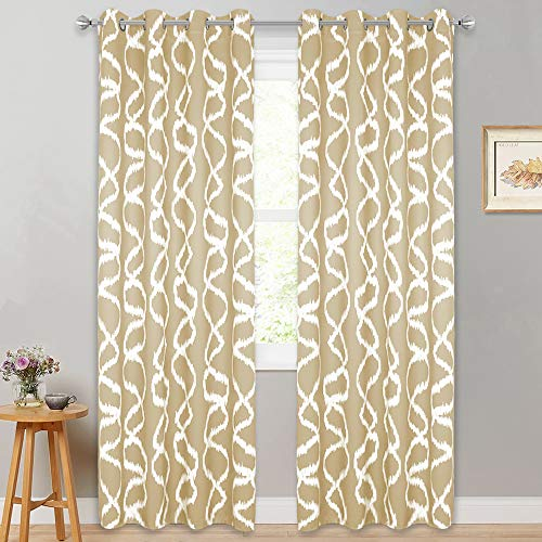 RYB HOME Farmhouse Curtains Country Rustic Curtains for Kitchen, Insulated Blackout Window Curtains for Cottage,52 Width by 84 Length, Set of 2, Cream Beige
