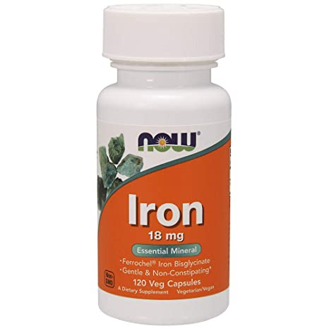 Now Foods Iron 18mg Ferrochel, Veg-capsules, 120-Count