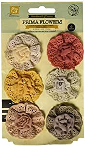 Prima Marketing Attic - Flores de tela con perlas para manualidades (3,8 cm, 6 unidades)