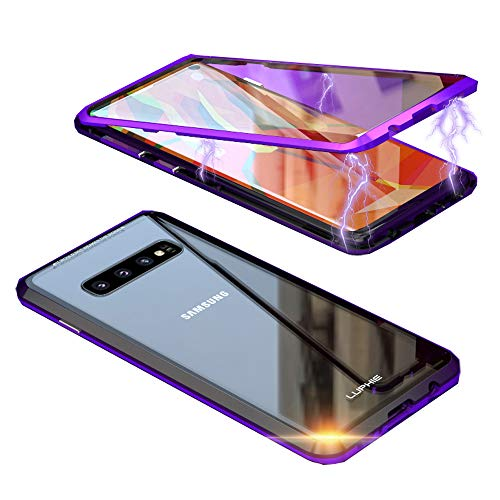- HIKERCLUB Galaxy S10 Magnetic Case Full Body Protection Metal Glass Flip Built-in Screen Protector Front and Back 9H Tempered Glass Clear Touchable HD Cover for Galaxy S10 6.1 inch (Purple&Black)