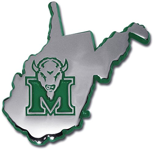 Marshall University - Marshall University METAL Auto Emblem (state shaped with green trim)