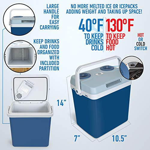 K-Box Electric Cooler and Warmer for Car and Home – 34 Quart (32 Liter) – Dual 110V AC House and 12V DC Vehicle Plugs (Blue)