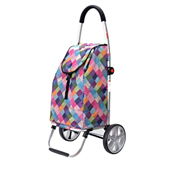 Trolley Shopping with Waterproof Bag Household Trolly Aluminum Alloy Shopping Cart,A