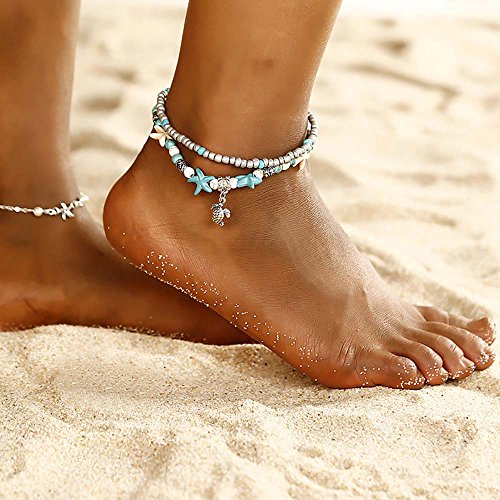 Leiothrix Boho Beach Anklet Chain Turtle Turquoise Starfish Foot Bracelet Jewelry for Party Casual (Pack of 1)