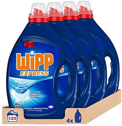 Wipp Express Detergente Líquido Azul 30 Lavados - Pack de 4, Total: 120 Lavados