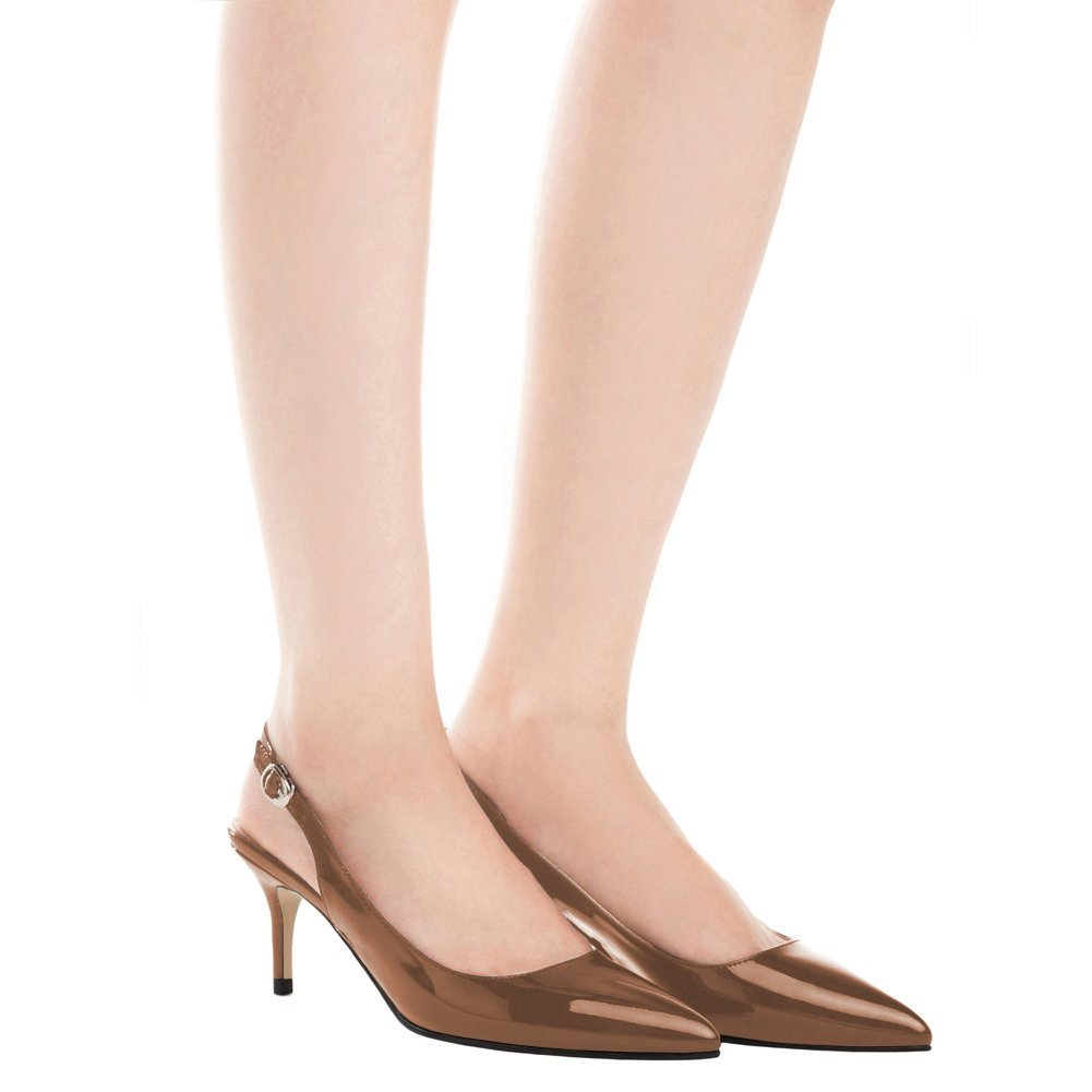 EKS EKS EKS Frauen Spitzschuh Mid Heels Slingback Patent Kleid Party Pumps Schuhe f9221b