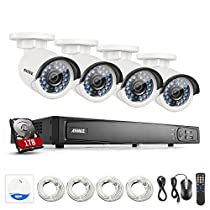 ANNKE 8CH 1080P POE NVR Security Camera System with 1TB HDD included + 4xHD 4 megapixels CCTV Bullet Cameras