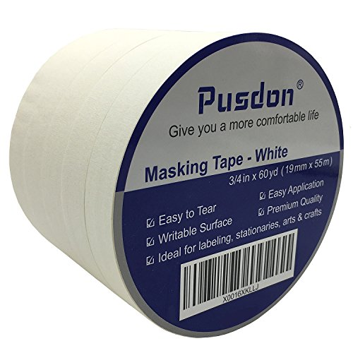 Pusdon Masking Tape White 5 Rolls, Ideal for Office, Home Labeling, Children Arts & Crafts DIY Project School Use, Each Roll 3/4-Inch x 60 Yards