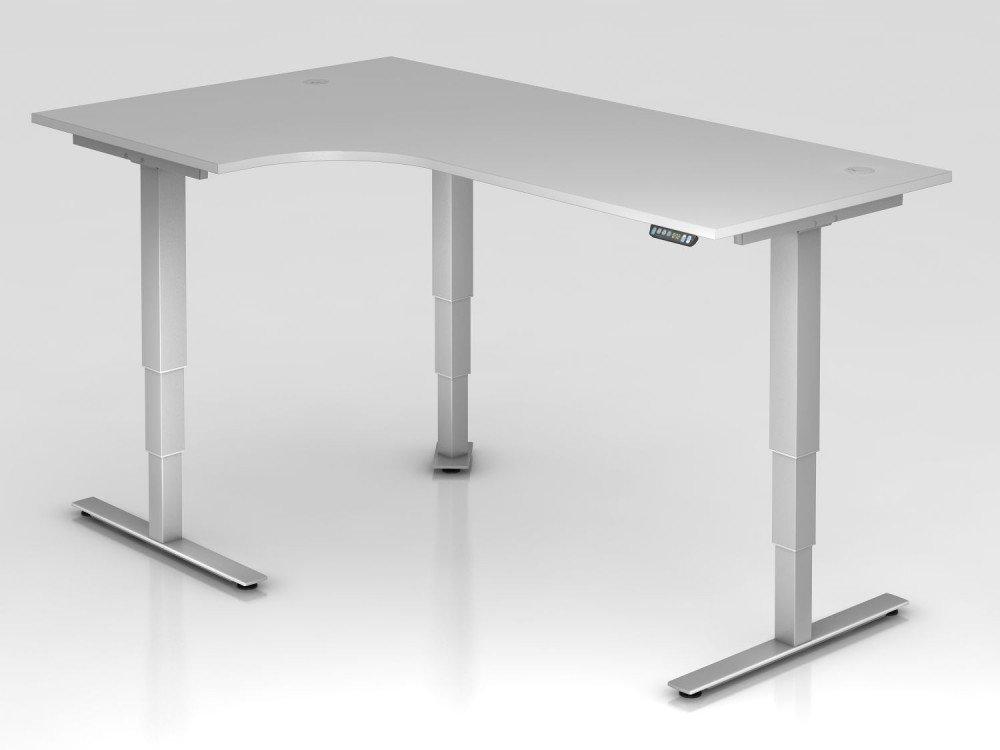Elektrisch höhenverstellbarer Winkeltisch, 200x120cm, 90°, Grau