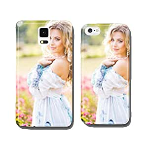 beautiful young girl in a garden of flowers cell phone cover case iPhone5