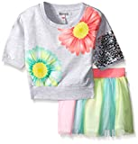 Kensie Girls' 2 Piece French Terry Cropped Top and Skirt with Rainbow Tulle Set