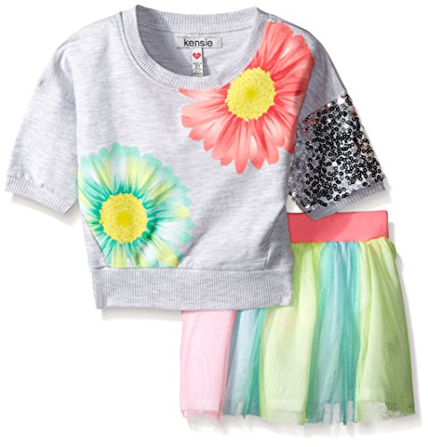Kensie Girls' 2 Piece French Terry Cropped Top and Skirt with Rainbow Tulle, Light Heather Gray, 5