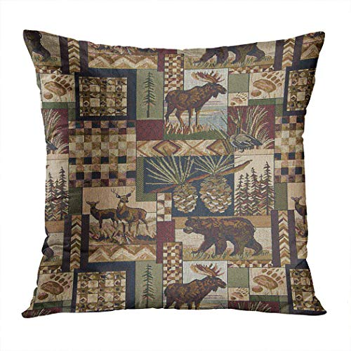 Suike Lodge Cabin Plush Hidden Zipper Home Sofa Decorative Throw Pillow Cover Cushion Case Square 20x20 Inch Two Sides Design Printed Pillowcase (Lodge Throw Pillows)