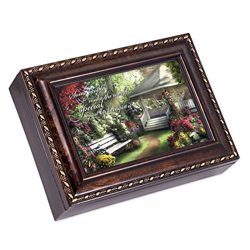 Cottage Garden Special World Dark Burl Wood Finish with Gold Trim Jewelry Music Box - Plays Tune Pachelbel's Canon in D