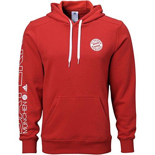 Adidas Mens Soccer FC Bayern Munich Hoodie, Red/White, (Adidas Heavyweight Sweatshirt)