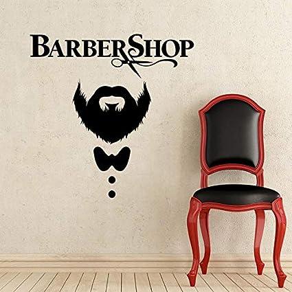 Salón de belleza Pegatinas de pared de vinilo Hombre Barba Corte de pelo de belleza | Sala de estar Dormitorio Sofá Fondo TV Fondo de pared Regalos creativos