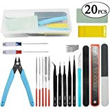 BXQINLENX Professional 20 PCS Gundam Model Tools Kit Modeler Basic Tools Craft Set Hobby Building Tools Kit for Gundam Car Model Building Repairing and Fixing(I)
