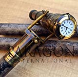 HANDMADE VINTAGE ART Leather Walking Stick Spy Telescope-Brass Cane-Time Watch on Top-Folding Stick