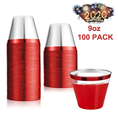 100 Count 9oz Disposable Clear Cup-Red Trim Cup/Old Fashioned Tumblers/Plastic Wedding Cups/Fancy Party Cups (In Cup Desserts Christmas A)