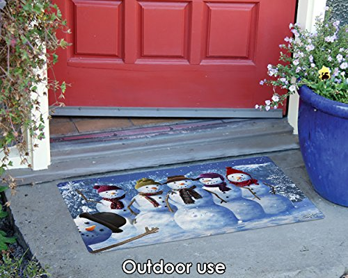 Toland Home Garden Snowman Photobomb 18 x 30 Inch Decorative Winter Floor Mat Funny Photo Doormat - 800302
