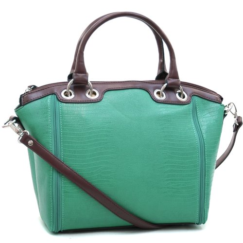 Dasein Women's Matte Croco Leather Like Texture Tote Bag w/ Zipper-lined Accents -Mint Green/Coffee, Bags Central