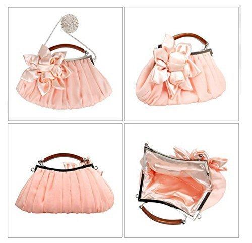 Elegant Wedding Shoulder Bag Pink Evening Bridal Designer Fashion Antique Handbag Clutch Party Newest Satin WeiSocket Envelope Purse Women fOq0wZ6