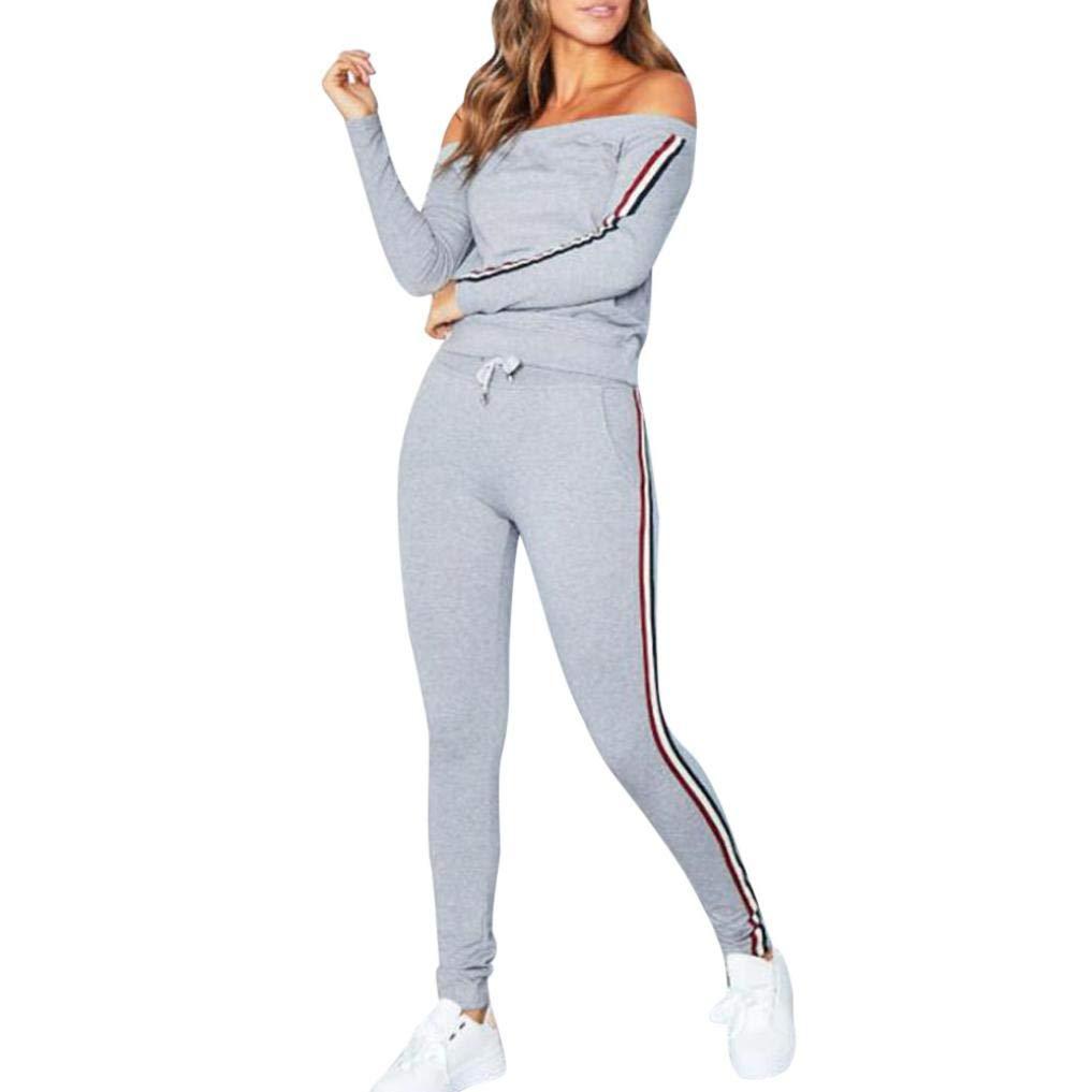 Jersh Women Sportswear, Off Shoulder Fashion Tracksuit Stripes Casual Sweatshirt Sportpants Sets Sport Daily Brief Sportswear(HOT!!!)