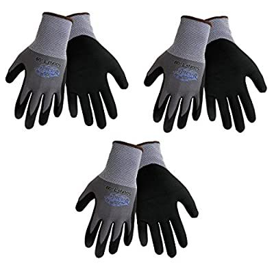 Tsunami Grip 500NFT Nitrile Coated Work Gloves Sizes Small-XL, Gray/Black, (3 Pair Pack) (Large) by Tsunami Grip