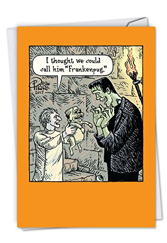 C6232HWG Frankenpug: Funny Halloween Card Featuring The Cute