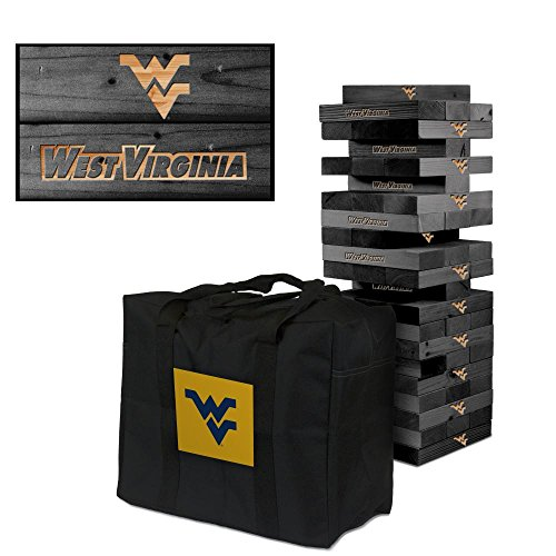 NCAA West Virginia Mountaineers WVU 902460West Virginia University Mountaineers WVU Onyx Stained Giant Wooden Tumble Tower Game, Multicolor, One Size by Victory Tailgate