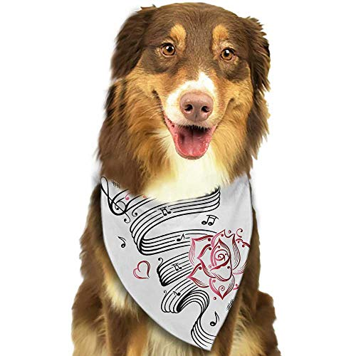 (Colored pet Scarf Tattoo Language of Love Valentines Musical Inspiration on Sheet with Rose Hearts W27.5 xL12 Scarf for Small and Medium Dogs and Cats)