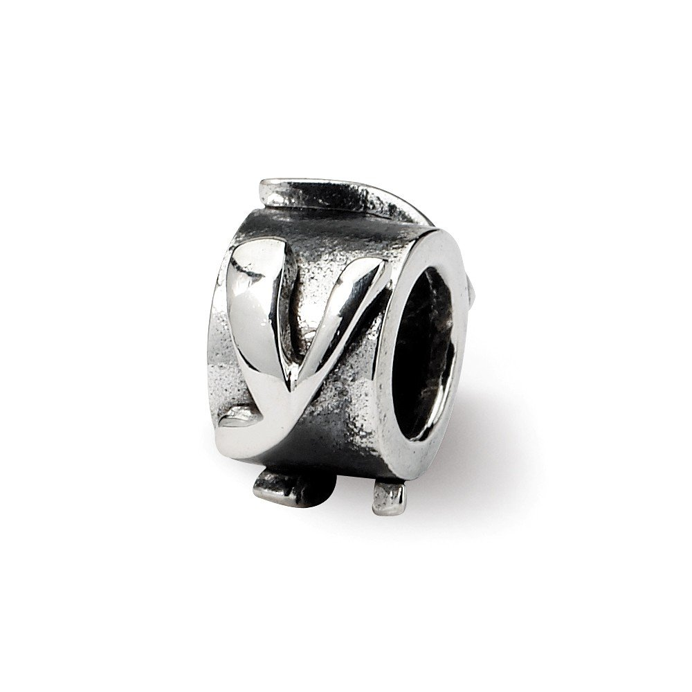 925 Sterling Silver Reflections Letter Message Bead Charm in Silver Choice of Initials and E F G I K L N O P Q R U V X Y