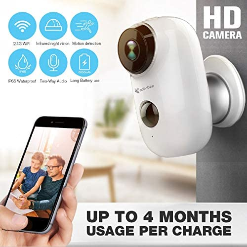 Wireless Outdoor Security Camera Waterproof Cordless HD WiFi IP Camera for Home Security Powered by 2X 18650 Rechargeable Batteries Wire-Free 2-Way Audio Night Vision Motion Detection