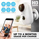 Wireless Outdoor Security Camera Waterproof Cordless HD WiFi IP Camera for Home Security Powered by 2X 18650 Rechargeable Batteries Wire-Free 2-Way Audio Night Vision & Motion Detection
