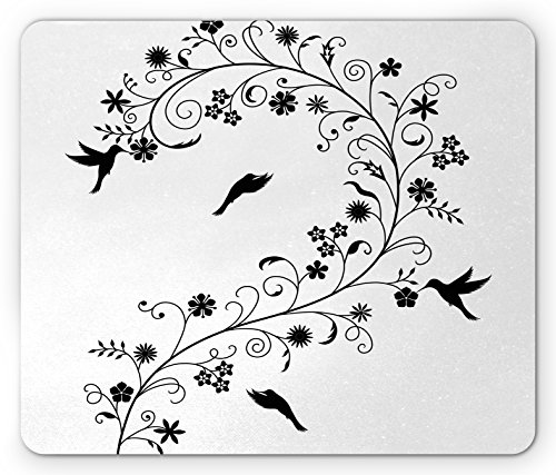 Flora Swirl (Black and White Mouse Pad by Ambesonne, Victorian Curves Swirls with Bird Silhouettes Monochrome Flora and Fauna, Standard Size Rectangle Non-Slip Rubber Mousepad, Black White)