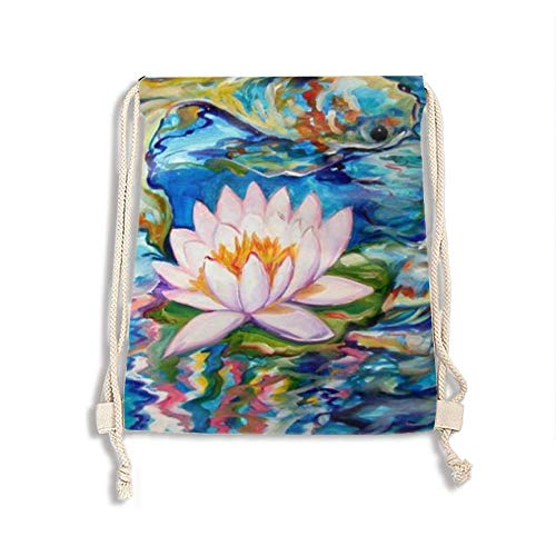 Drawstring Backpack, String Backpack Bag for Sport Outdoor Travel Beach Hiking (Abstract Koi Fish)