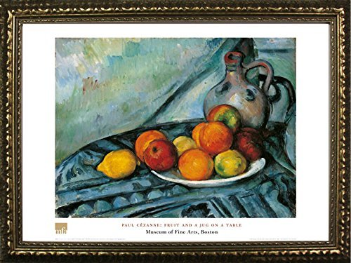 FRAMED Fruit And A Jug On A Table by Paul Cezanne 24x32 Art Print Poster Famous Painting Still Life Fruit Plate From Museum of Fine Arts Boston Collection