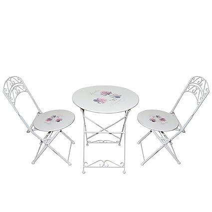 Magna Homewares Bistro Rose Print Metal Folding Outdoor, Indoor Table & Chairs Set